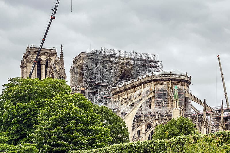 The unfortunate event for the most popular monument in Paris - Notre Dame after the fire.