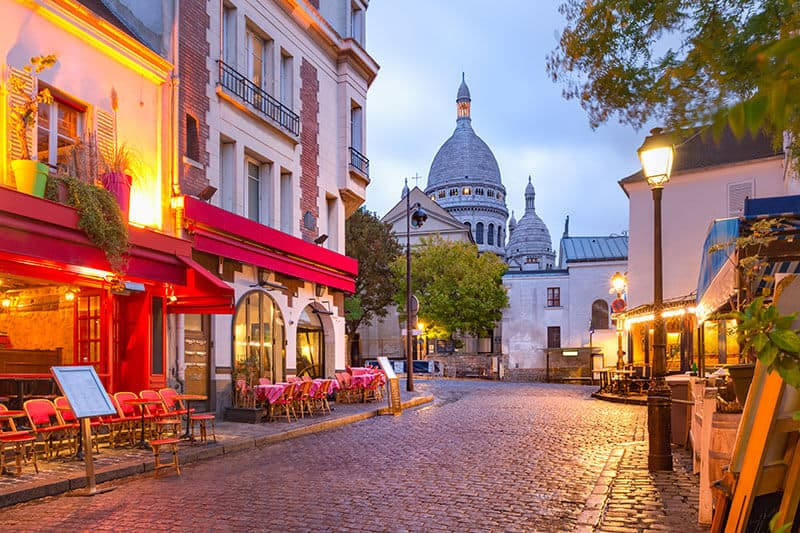 Montmartre Paris - The Place du Tertre and the Sacre-Coeur in the background.