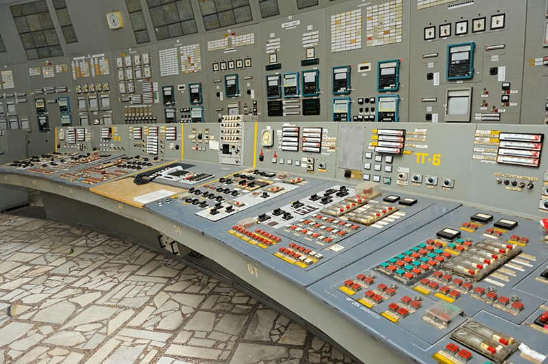 Main control board in the control operations room of the reactor at the Chernobyl Nuclear Power Plant.