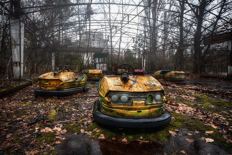 Abandoned park within the evacuated Pripyat.