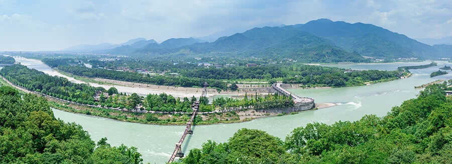 An ancient irrigation system in Dujiangyan City Sichuan China
