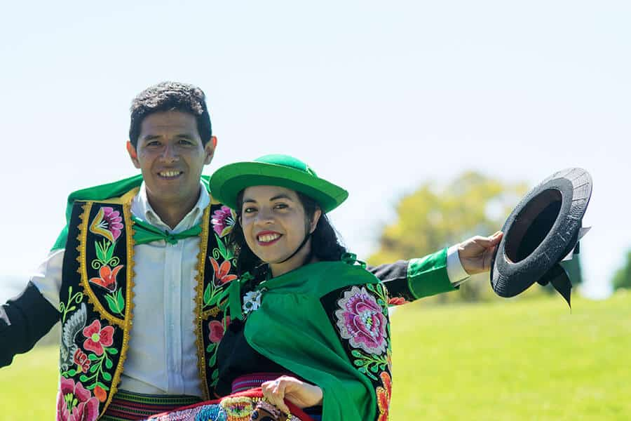 Peruvian couple dancing Huayno