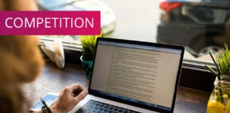 Writer by his computer
