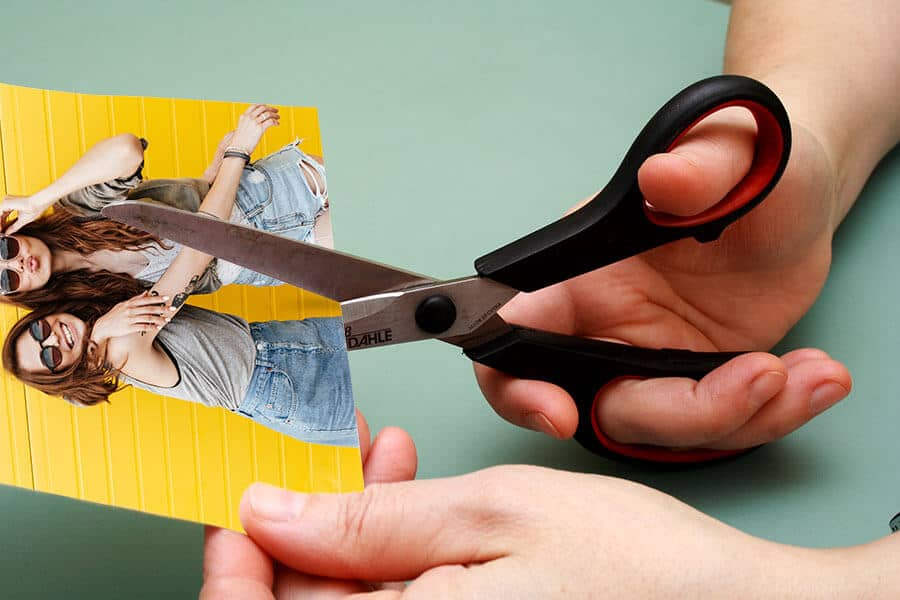 Cutting out a photograph