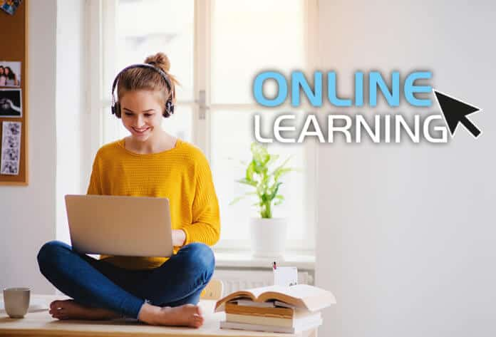 A student studying an online course