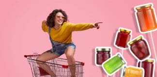 Girl riding the supermarket troley concept of multiple choice