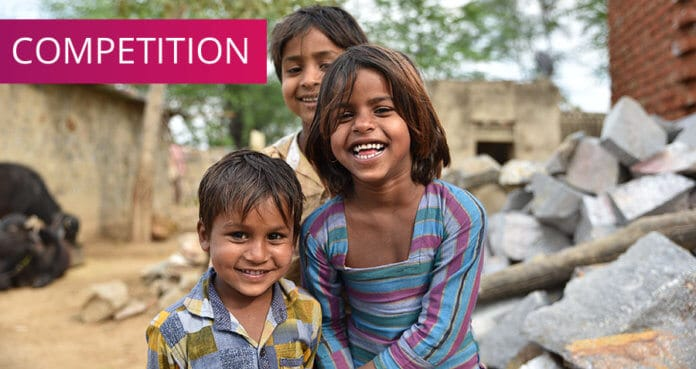 Smiling children from rural part of India