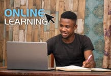 Student studying an online course