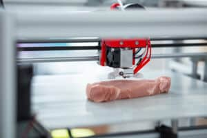 3D printer recreating a piece of meat