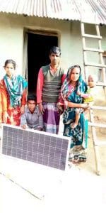 Family with the new solar panel