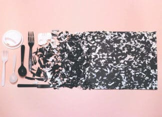 Collage from plastic waste
