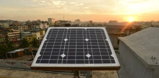 Solar panel on rooftop of a building