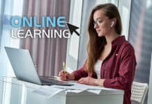 Student studying an online course at home