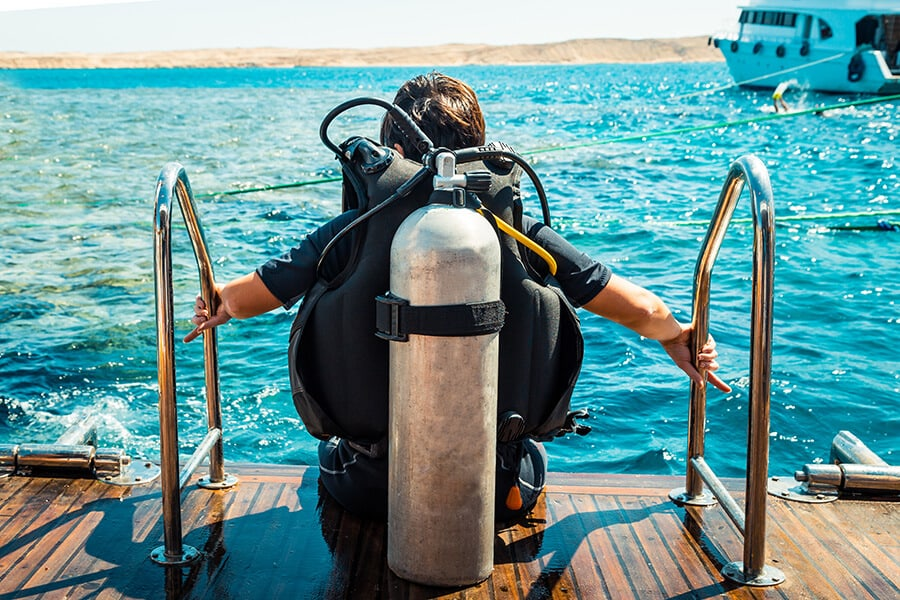Scuba diver before diving