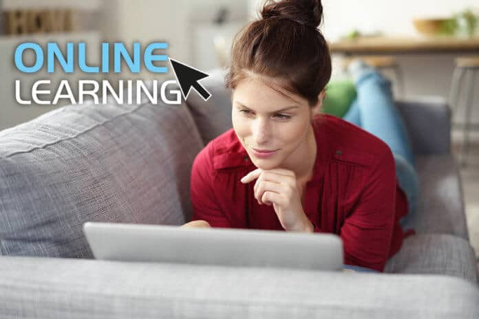 Woman studying an online course at home