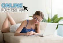 Young Woman Doing her online course