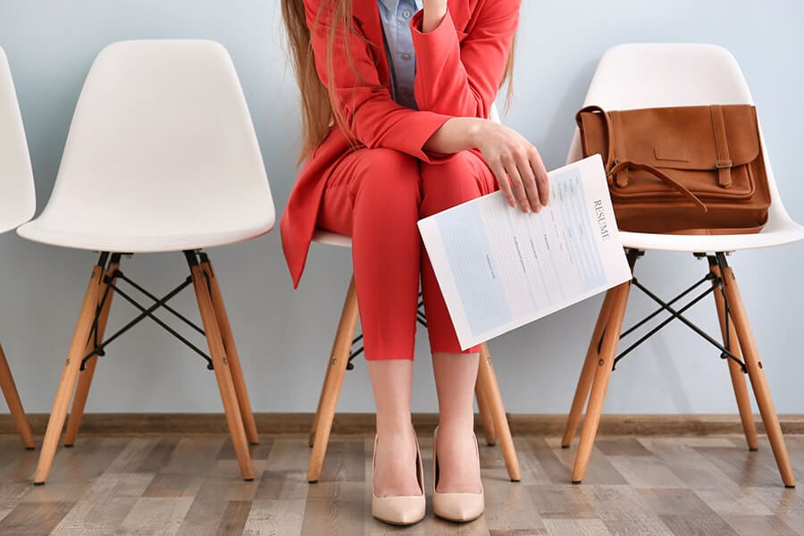 Young woman waiting for interview