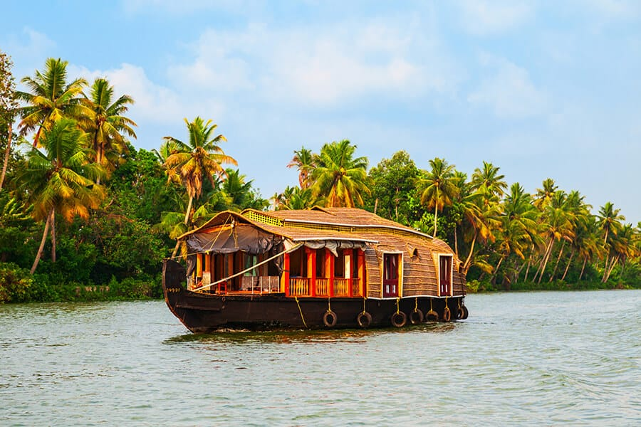 A houseboat sailing in Kerala