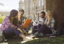 College students discussing under tree on campus