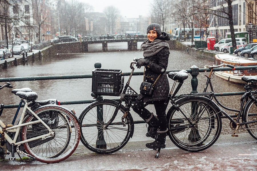 Girl on a bicycle in Amsterdam