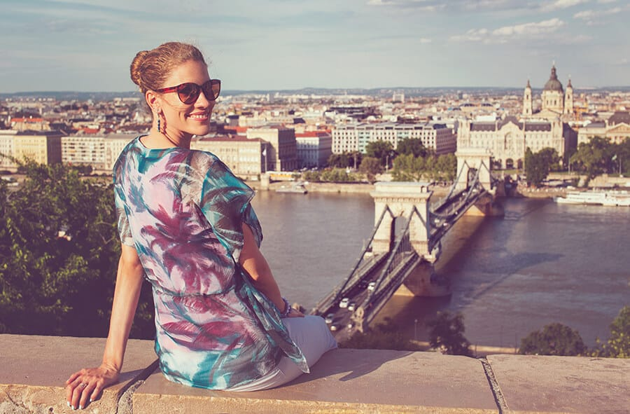 Happy student in Budapest