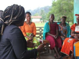 Peacebuilders discuss local peace structures as part of a comparative learning visit from Kenya to Liberia © Conciliation Resources 1
