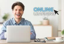 Smiling student taking an online course