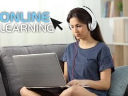 Student e learning online course in the living room