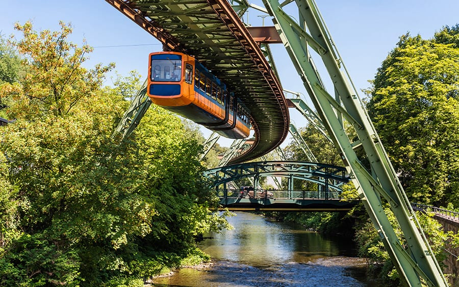 The Schwebahn floating tram in Wuppertal