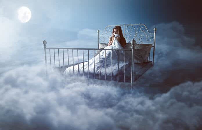 Woman waking up in her dream - Lucid dreaming