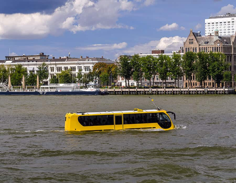 Yellow amphibious bus