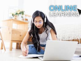 Young woman listening lecture online