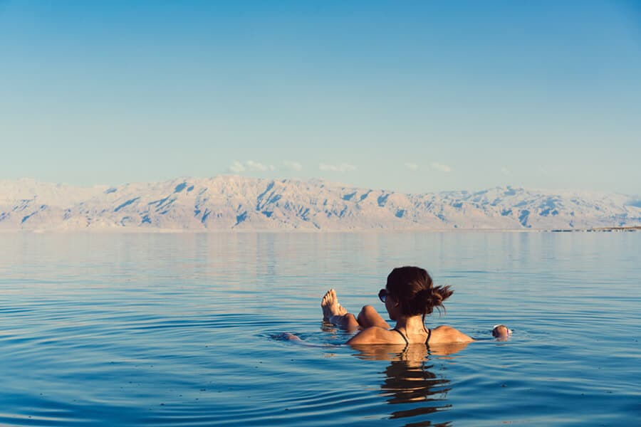 In the waters of the Dead Sea in Israel