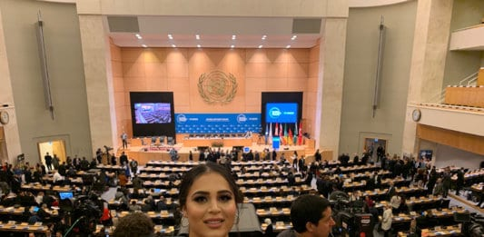 Rez at the first Global Refugee Forum in the UN Palace of Nations in December 2019