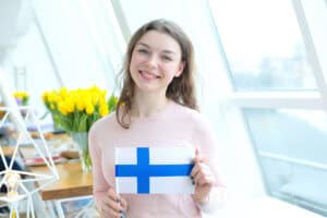 Student with the flag of Finland