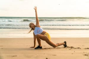 Excercising on the beach