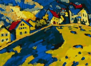 Houses on a Hill reproduction of Wassily Kandinsky painting