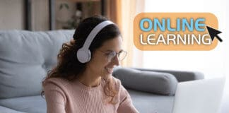 Student studying on online course