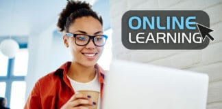 Student watching online course
