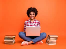 Woman studying an online course