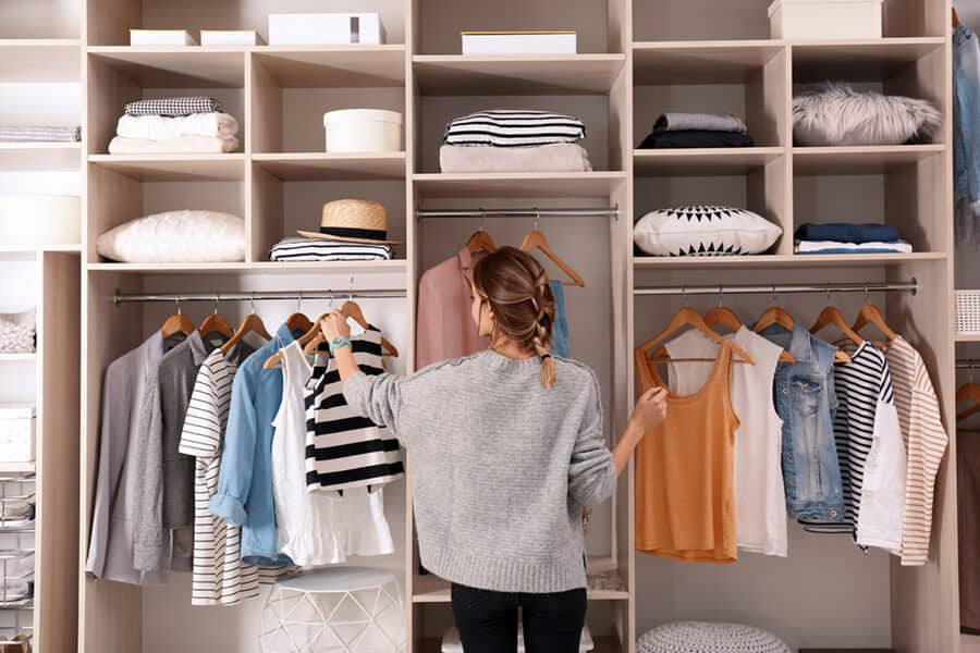 Choosing outfit from large wardrobe