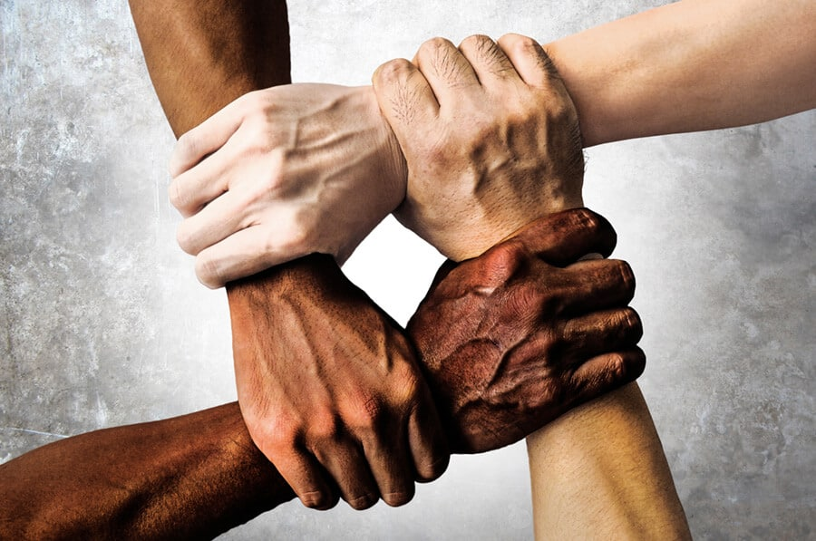 Tolerance unity love and anti racism concept