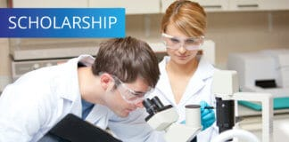 Two scientists students in the laboratory