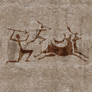 Ancient rock paintings show primitive people hunting on animals