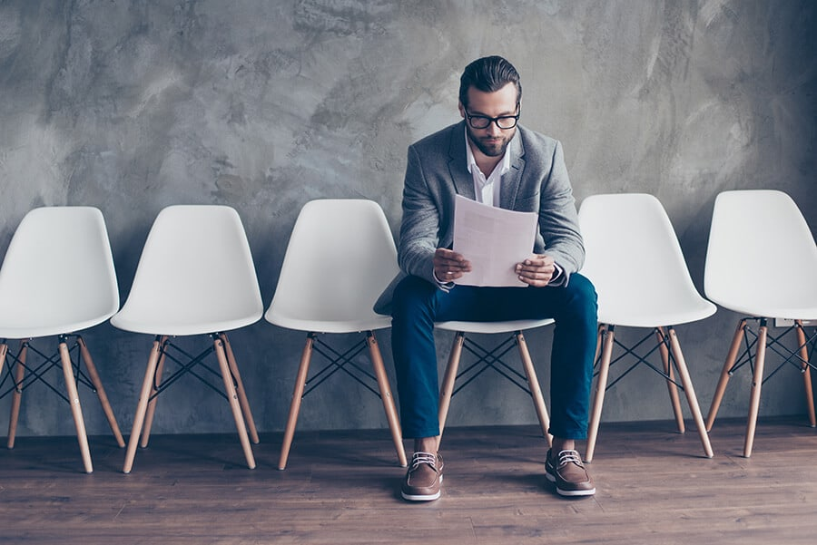 Man waiting for an interview