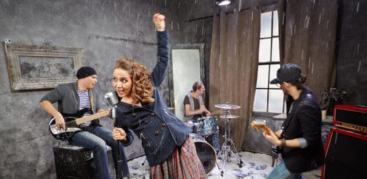 Rock band performs during shooting video clip