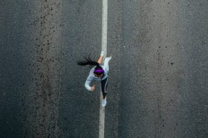 Running while listening to the music on the road