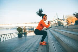 Woman excercising while listening to the music